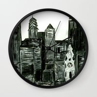Black And White Philly S… Wall Clock