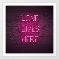 Love Lives Here (Magenta) Art Print