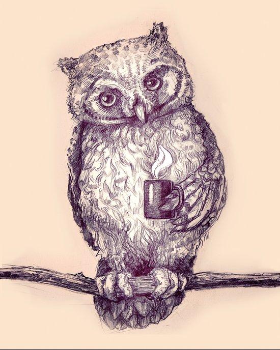 Caffeinated Owl Art Print