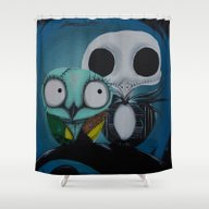 The Owl Jack And Sally Shower Curtain