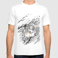 Could It Be The Wind? SMALL White Mens Fitted Tee