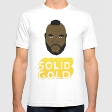 Solid Gold White SMALL Mens Fitted Tee