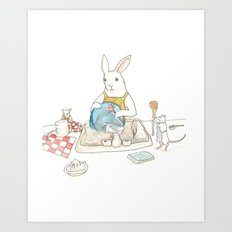 Doing the Dishes Art Print