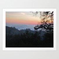Fog-Filled Valley at Sunset Art Print
