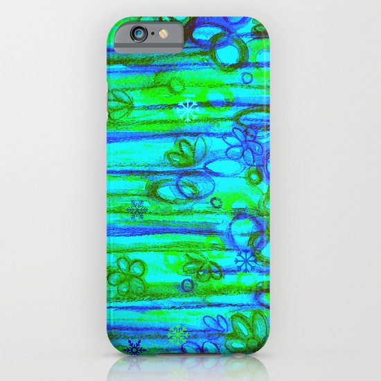 WINTER GARDEN -Bright Blue Green Neon Snowflake Floral Abstract Watercolor Painting and Digital Art iPhone & iPod Case