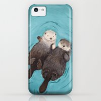 iPhone Cases featuring Otterly Romantic - Otters Holding Hands by When Guinea Pigs Fly