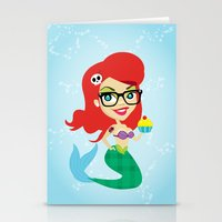 Hipster Mermaid Stationery Cards