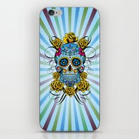 Sugar skull- Day of the dead- blue iPhone & iPod Skin