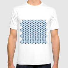 Blue Cubes Mens Fitted Tee White SMALL