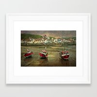 Three Red Boats at Staithes Framed Art Print