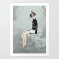woman Art Prints featuring Cat Woman by Sandra Dieckmann