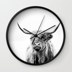 portrait of a highland cow Wall Clock
