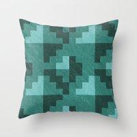 Green Diamond Pixels Throw Pillow