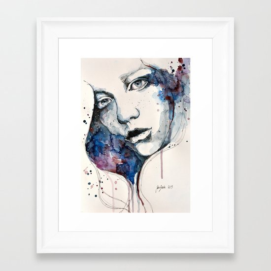 Window, watercolor & ink painting Framed Art Print