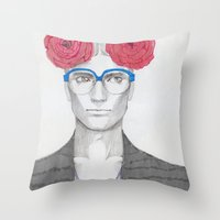 Two Red Flowers 02 Throw Pillow