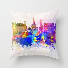 Aachen skyline in watercolor background Throw Pillow