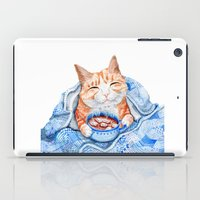 Happy Cat Drinking Hot Chocolate iPad Case
