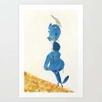 Up The Hill We Go! Art Print