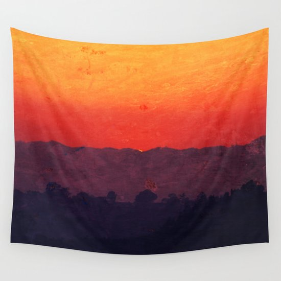 Five Shades of Sunset Painting Wall Tapestry / Large: 88