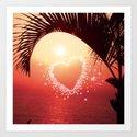 heart in the sky,orange Art Print