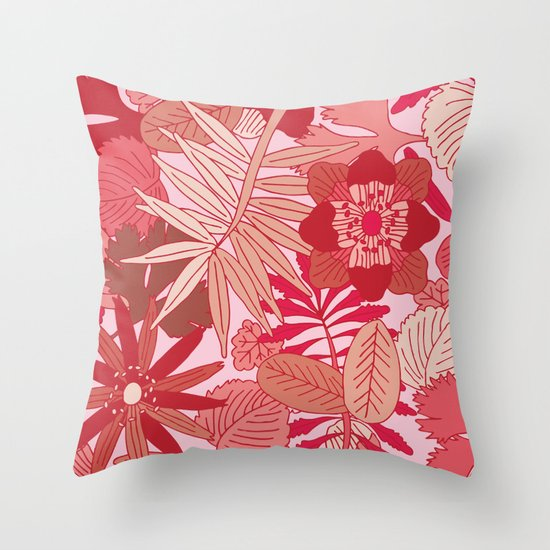 Botanic in Rose Throw Pillow