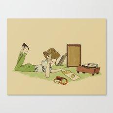 Record Player Girl Canvas Print