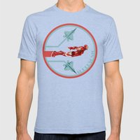 iron man and F22 raptor  Mens Fitted Tee Tri-Blue SMALL