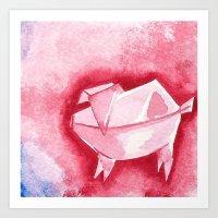 Origami Pig 1 Art Print