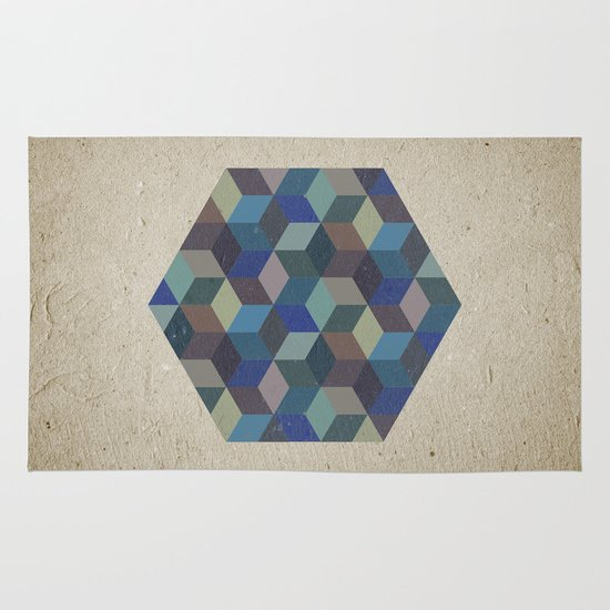 Dimension in blue Area & Throw Rug