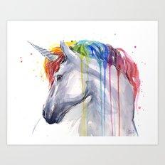 Rainbow Unicorn Watercolor Art Print