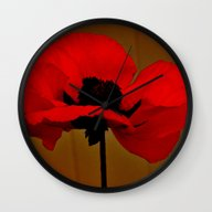 Wall Clock featuring POPPIES by Teresa Chipperfield …