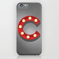 iPhone & iPod Case featuring C - Theatre Marquee Letter by Josh Thomassen
