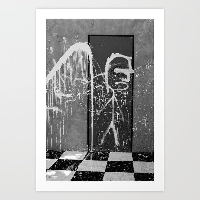 graffiti noir et blanc art print by s bastien bouvier society6. Black Bedroom Furniture Sets. Home Design Ideas