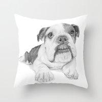 A Bulldog Puppy Throw Pillow