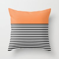 STRIPE COLORBLOCK {ORANG… Throw Pillow