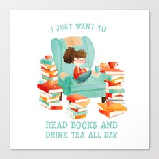 Read Books and Drink Tea Canvas Print
