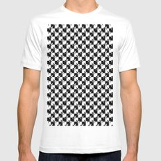 Black And White Checkerb… Mens Fitted Tee White SMALL