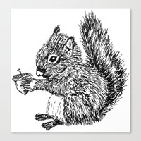 Squirrel in black & white Canvas Print