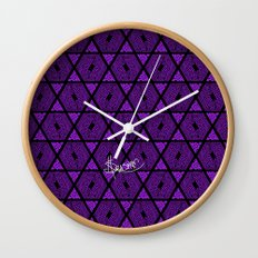 Kagome Greek Fret ... Purple Wall Clock