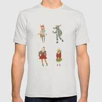 Vintage Animals Mens Fitted Tee Silver SMALL