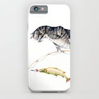 iPhone & iPod Case featuring Cat with a Fish by Goosi