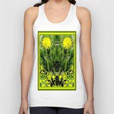 Green-Yellow  Gothic  Dandelions Architectural Fantasy Unisex Tank Top