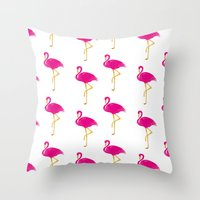 Gold Flamingo Throw Pillow