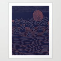Mountain Moon Art Print