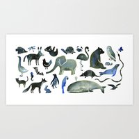Art Print featuring Animals in Black (and blue) by Diana Toledano