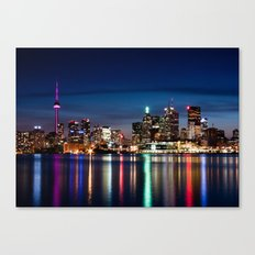 Toronto Skyline At Night From Polson St No 2 Canvas Print