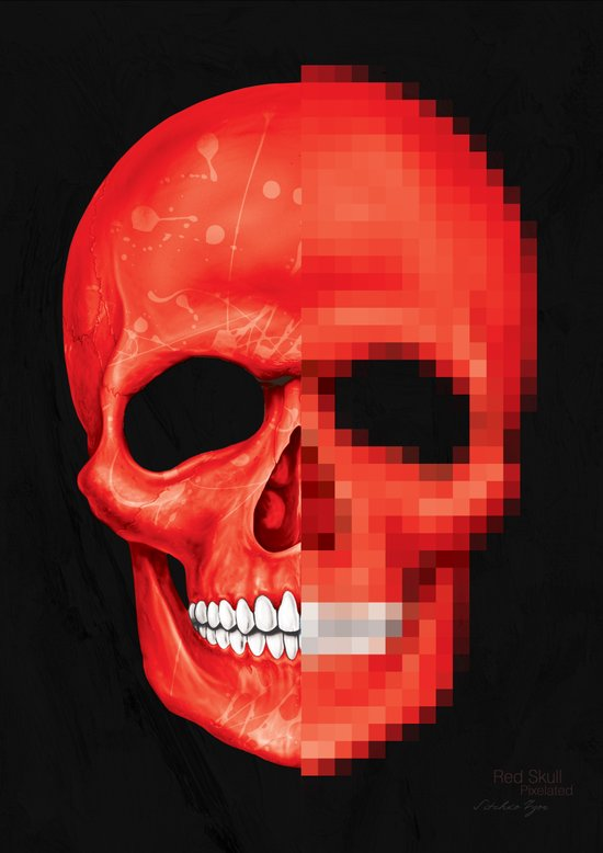 Red Skull Pixelated Art Print