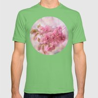 Pink Blooms Mens Fitted Tee Grass SMALL