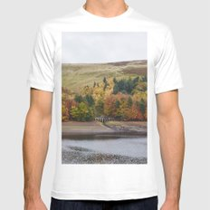 Autumnal trees at Derwent Reservoir. Derbyshire, UK. Mens Fitted Tee White SMALL