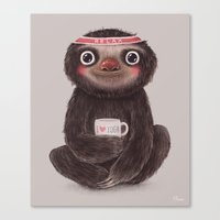 Sloth I♥yoga Canvas Print